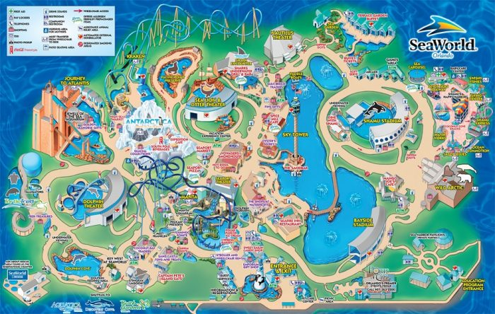 Parque SeaWorld em Orlando: mapa do parque SeaWorld