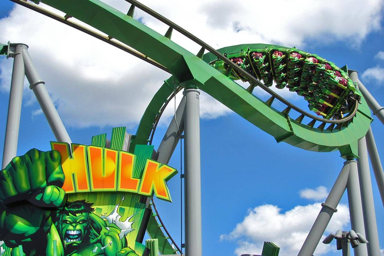 Onde comprar os ingressos de Orlando mais baratos: Parque Islands of Adventure - montanha-russa do Hulk