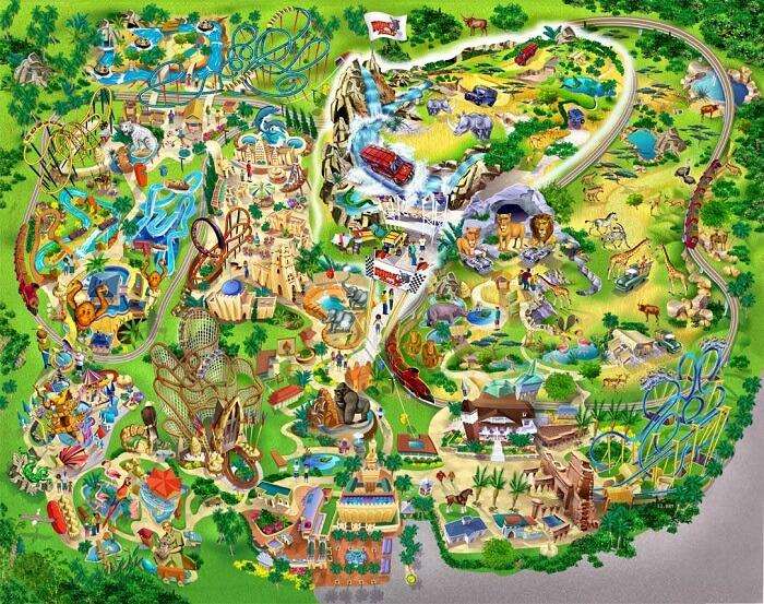 Parque Busch Gardens em Tampa: mapa do parque Busch Gardens
