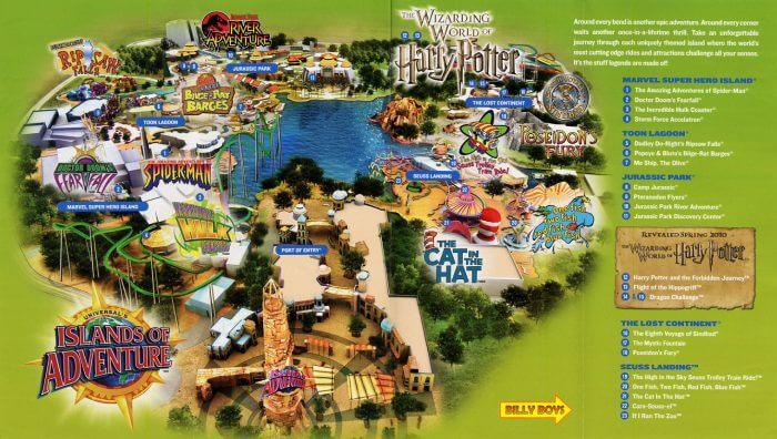 Parque Islands of Adventure Orlando: mapa do parque Islands of Adventure