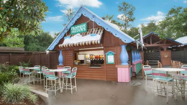 Bar do Frozen no Disney Blizzard Beach Orlando: Frostbite Freddy's Frozen Freshments