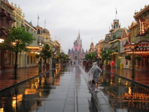 Chuva nos parques da Disney em Orlando: parque Disney Magic Kingdom