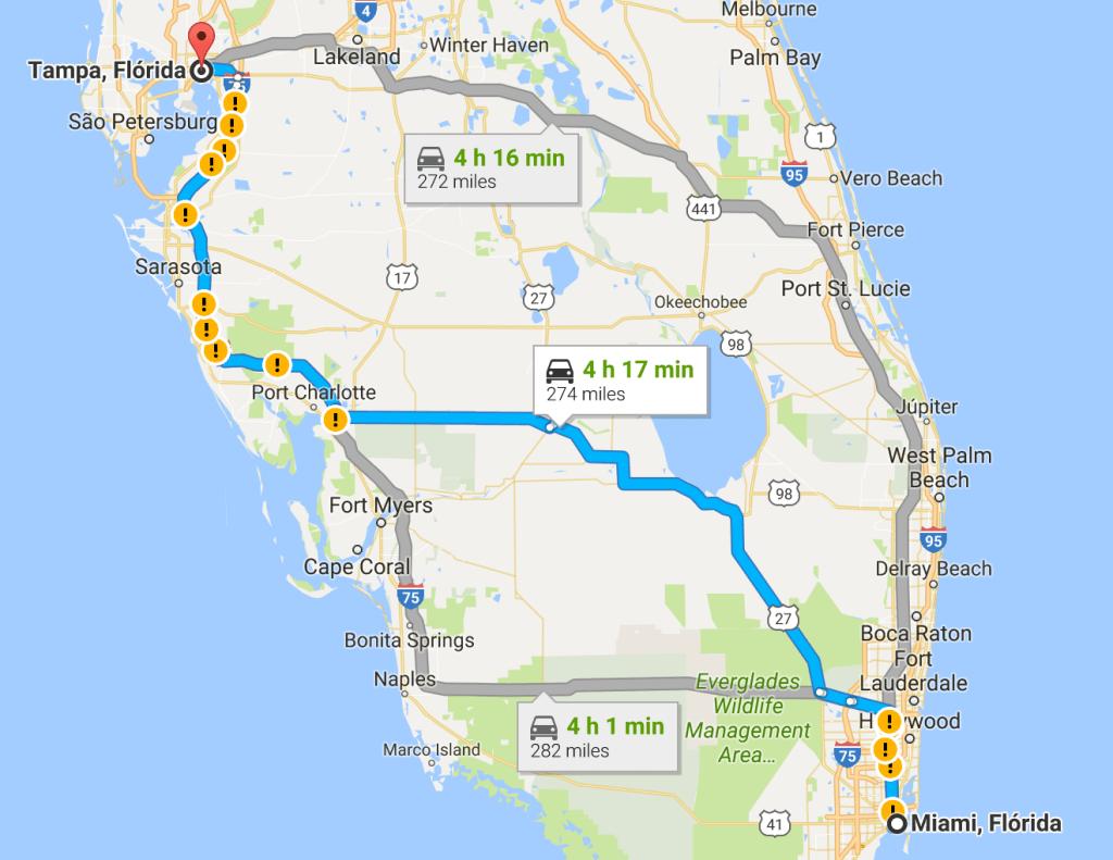 Como ir de Miami a Tampa ou de Tampa a Miami: mapa de caminhos