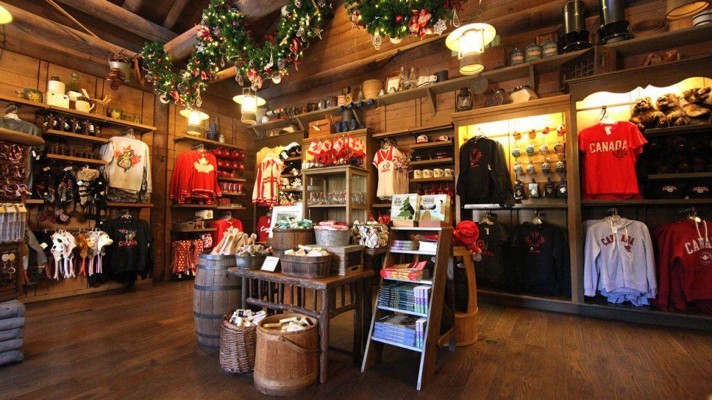 Pavilhão e área do Canadá no Disney Epcot em Orlando: lojas