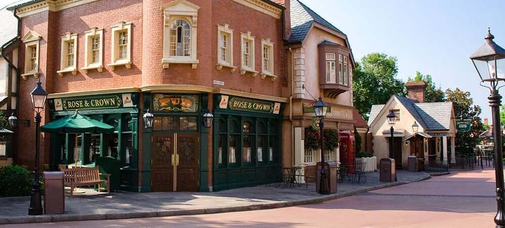 Pavilhão e área do Reino Unido no Disney Epcot em Orlando: Pub Rose & Crown