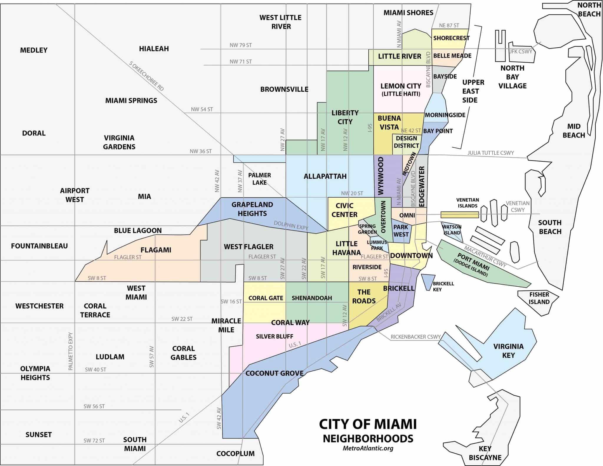 Onde ficar em Miami: Melhores regiões: mapa dos bairros de Miami