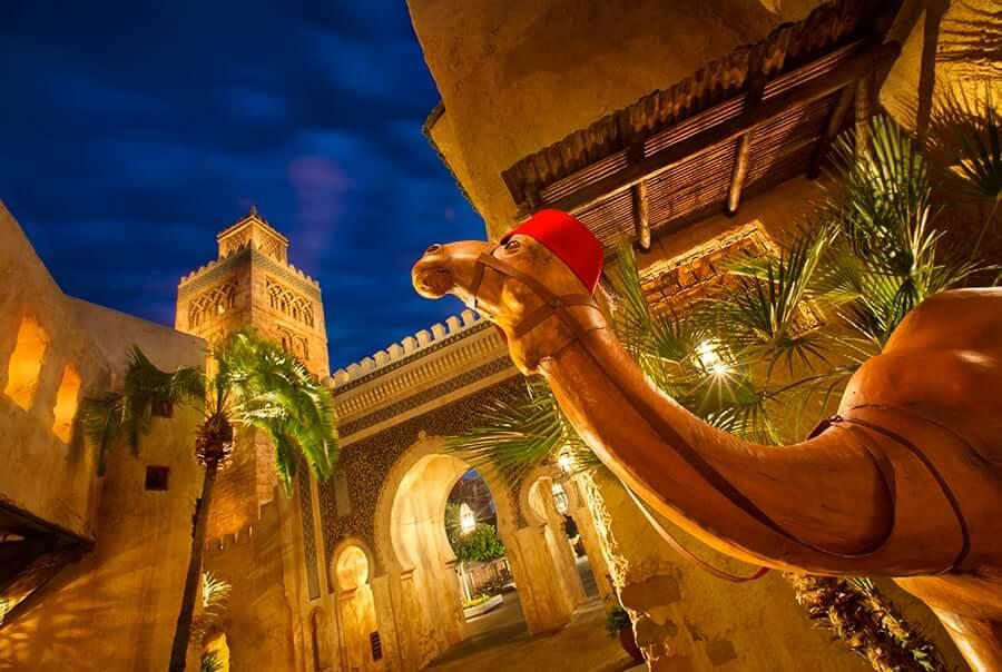 Pavilhão e área de Marrocos no Disney Epcot em Orlando: atrações