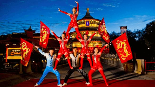 Shows, paradas e apresentações no parque Disney Epcot Orlando: Jeweled Dragon Acrobats