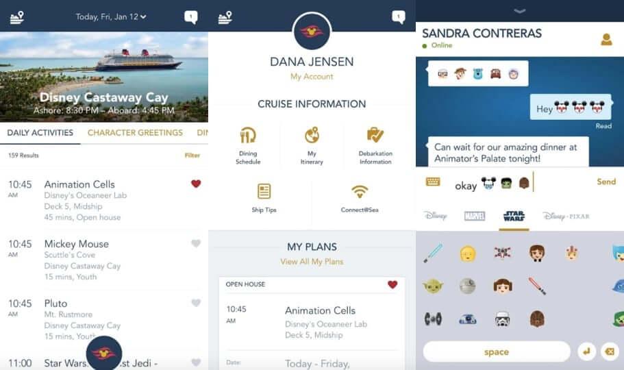 Aplicativo Disney Cruise Line Navigator: funções do aplicativo