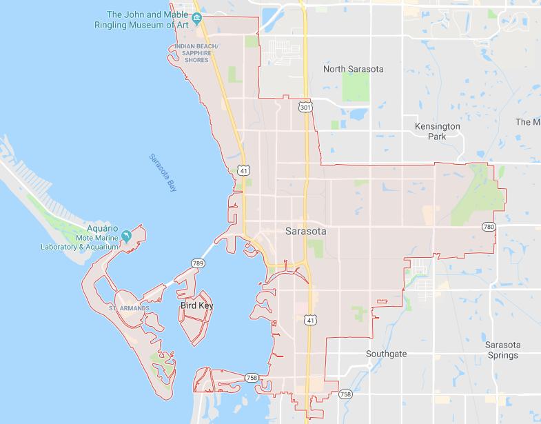 Onde ficar em Sarasota: mapa