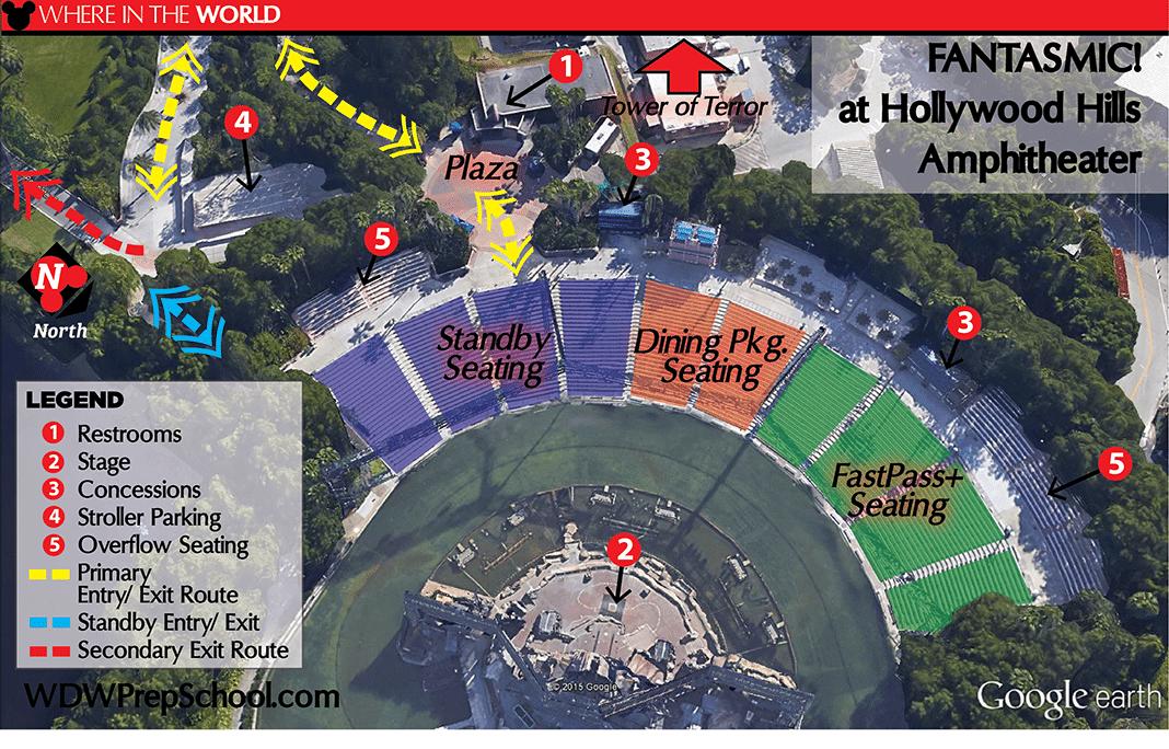 Melhores lugares para assistir aos shows da Disney Orlando: mapa Fantasmic!