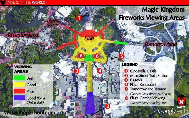 Melhores lugares para assistir aos shows da Disney Orlando: mapa Happily Ever After