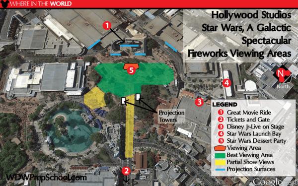 Melhores lugares para assistir aos shows da Disney Orlando: mapa Star Wars: A Galactic Spectacular