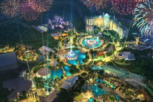 Novo parque Universal's Epic Universe na Universal Orlando: área